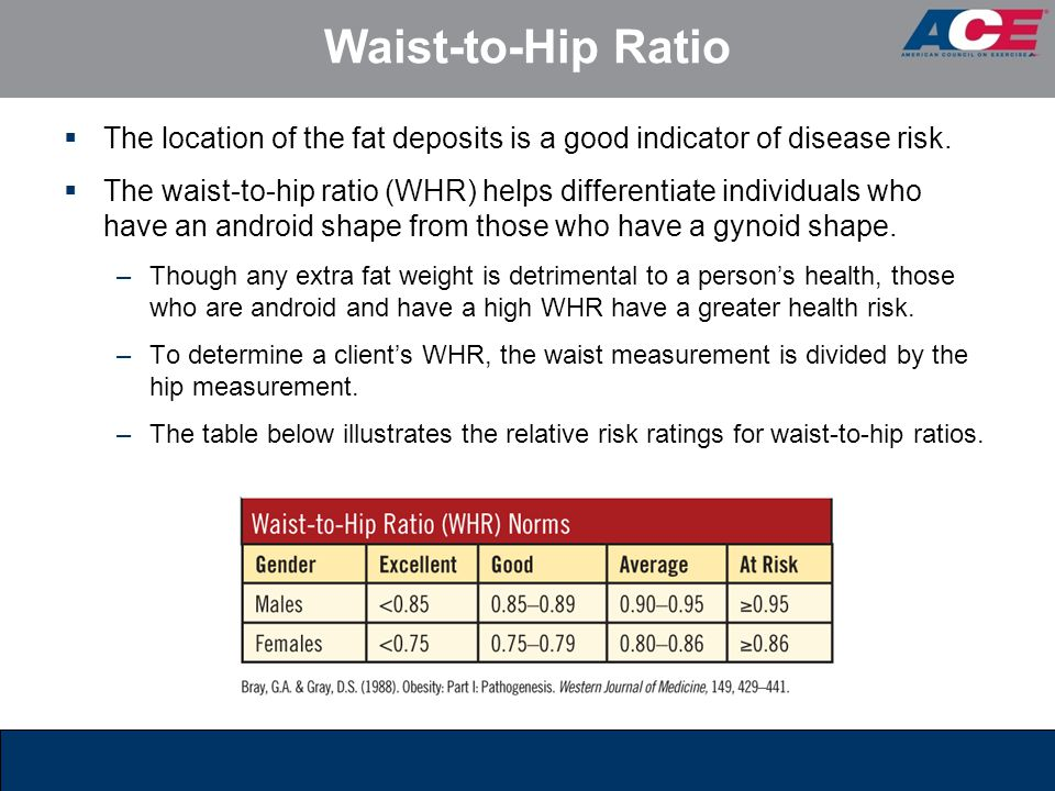 Waist-to-Hip Ratio The location of the fat deposits is a good indicator of disease risk.