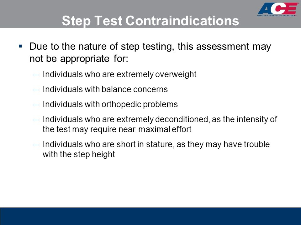 Step Test Contraindications