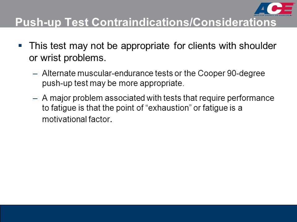Push-up Test Contraindications/Considerations