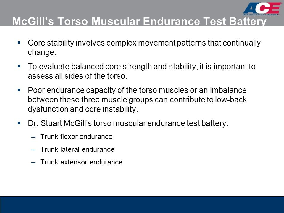 McGill's Torso Muscular Endurance Test Battery
