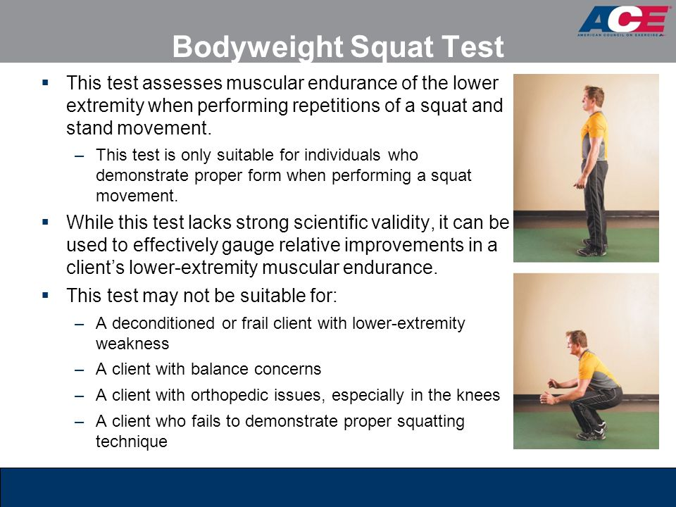 Bodyweight Squat Test This test assesses muscular endurance of the lower extremity when performing repetitions of a squat and stand movement.