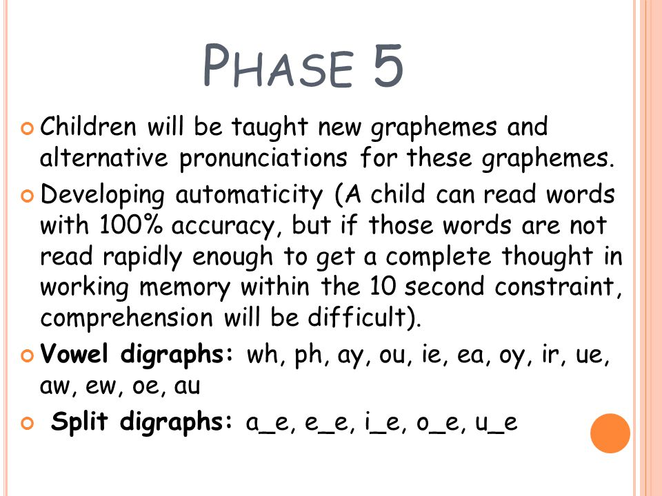 Phase 5 Children will be taught new graphemes and alternative pronunciations for these graphemes.