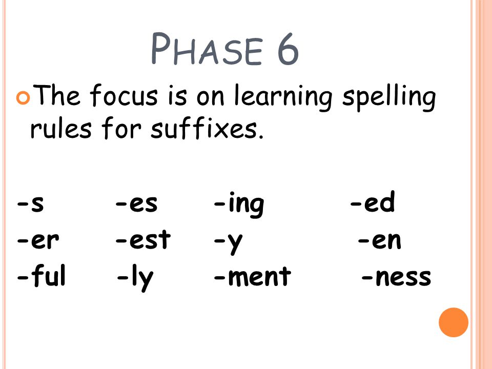 Phase 6 The focus is on learning spelling rules for suffixes.