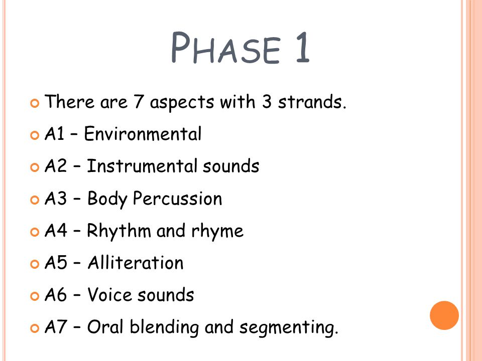 Phase 1 There are 7 aspects with 3 strands. A1 – Environmental