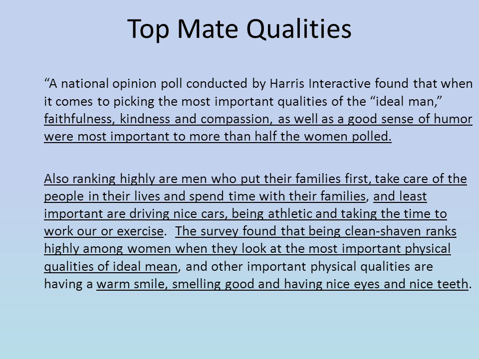 Top Mate Qualities