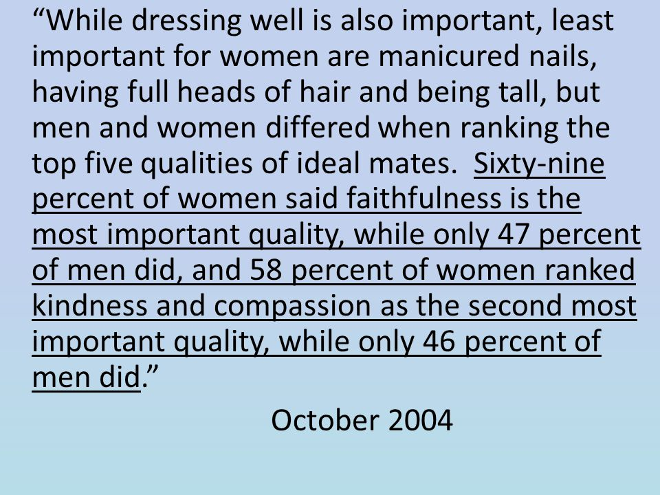 While dressing well is also important, least important for women are manicured nails, having full heads of hair and being tall, but men and women differed when ranking the top five qualities of ideal mates. Sixty-nine percent of women said faithfulness is the most important quality, while only 47 percent of men did, and 58 percent of women ranked kindness and compassion as the second most important quality, while only 46 percent of men did.