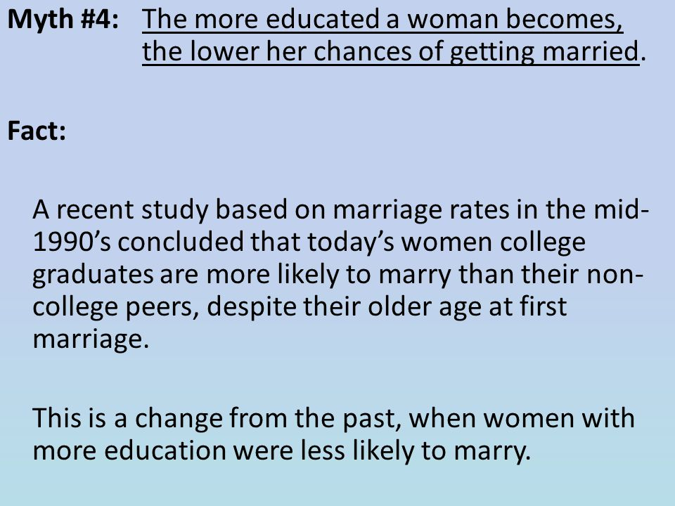 Myth #4: The more educated a woman becomes, the lower her chances of getting married.