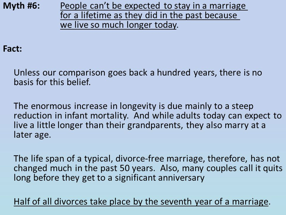 Myth #6: People can't be expected to stay in a marriage for a lifetime as they did in the past because we live so much longer today.