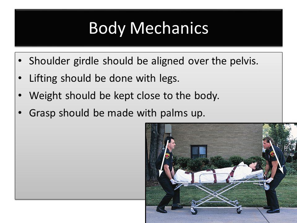 Body Mechanics Shoulder girdle should be aligned over the pelvis.