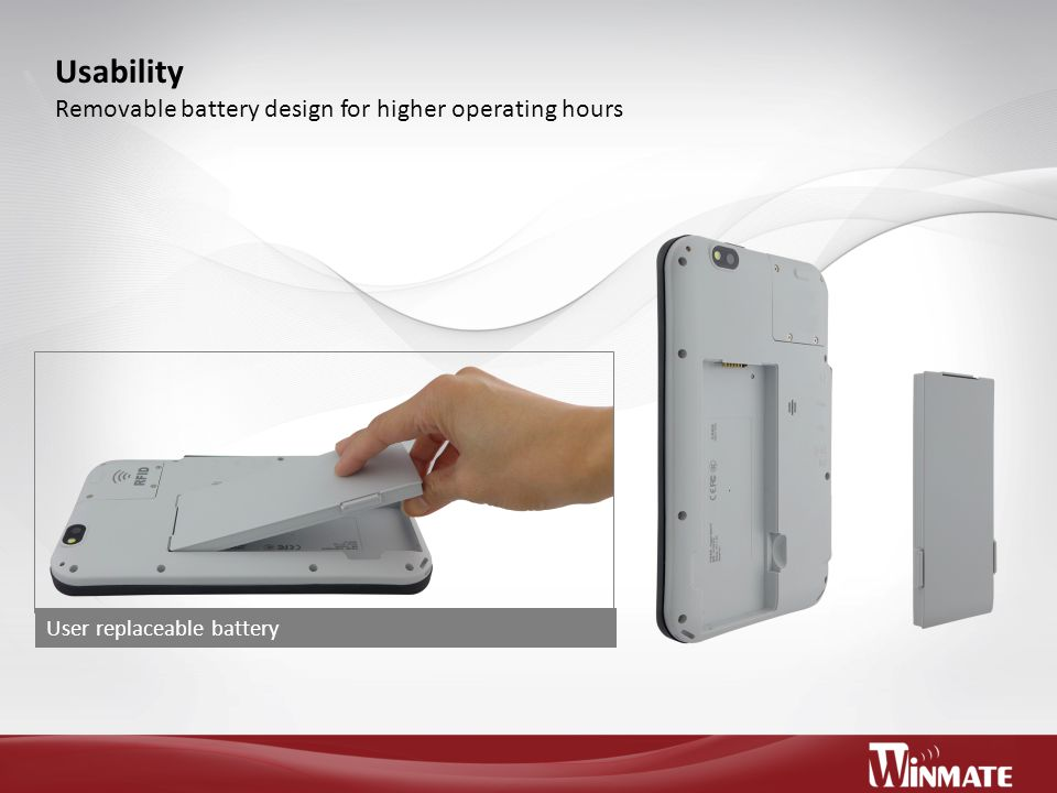 Usability Removable battery design for higher operating hours