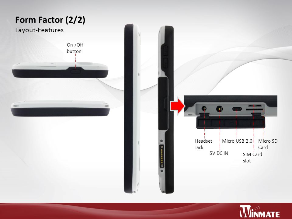 Form Factor (2/2) Layout-Features On /Off button Headset Jack