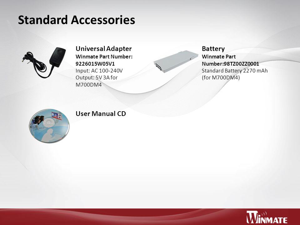 Standard Accessories Universal Adapter Battery User Manual CD