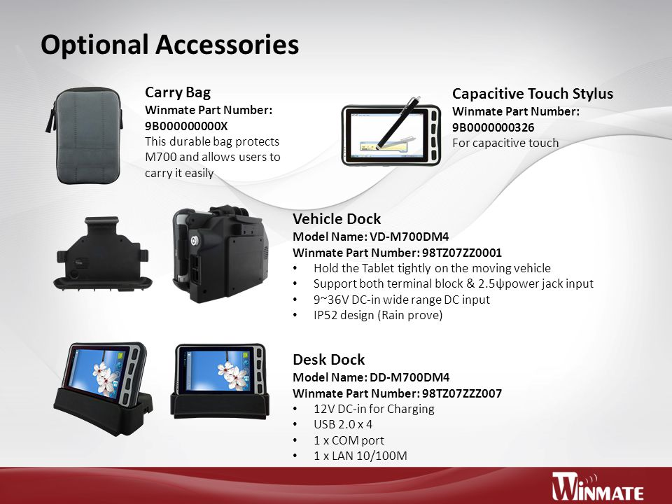 Optional Accessories Carry Bag Capacitive Touch Stylus Vehicle Dock