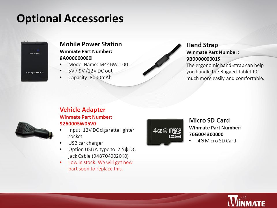 Optional Accessories Mobile Power Station Hand Strap Vehicle Adapter