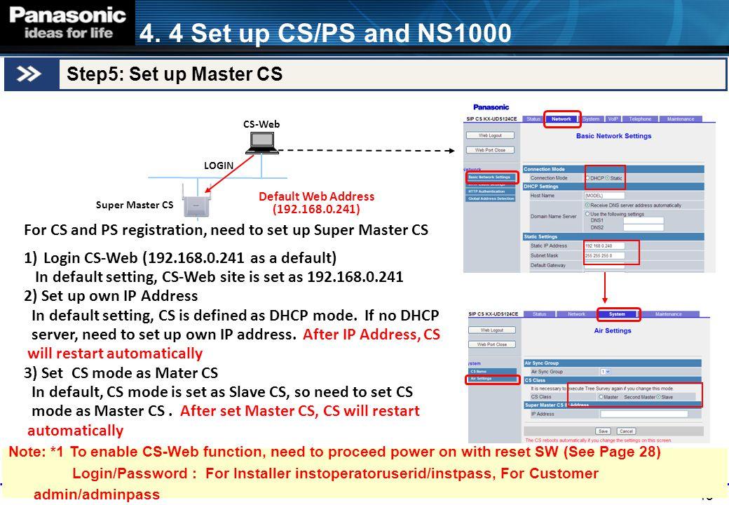 4. 4 Set up CS/PS and NS1000 Step5: Set up Master CS