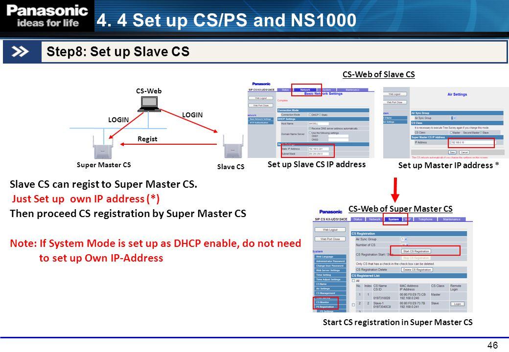 4. 4 Set up CS/PS and NS1000 Step8: Set up Slave CS