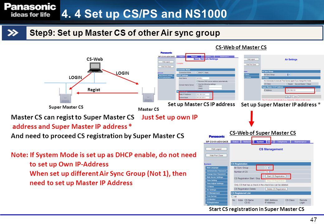 4. 4 Set up CS/PS and NS1000 Step9: Set up Master CS of other Air sync group. CS-Web of Master CS.