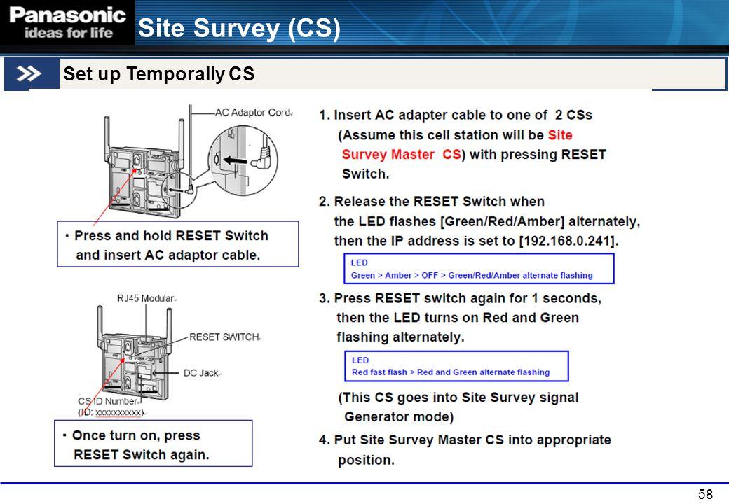 Site Survey (CS) Set up Temporally CS