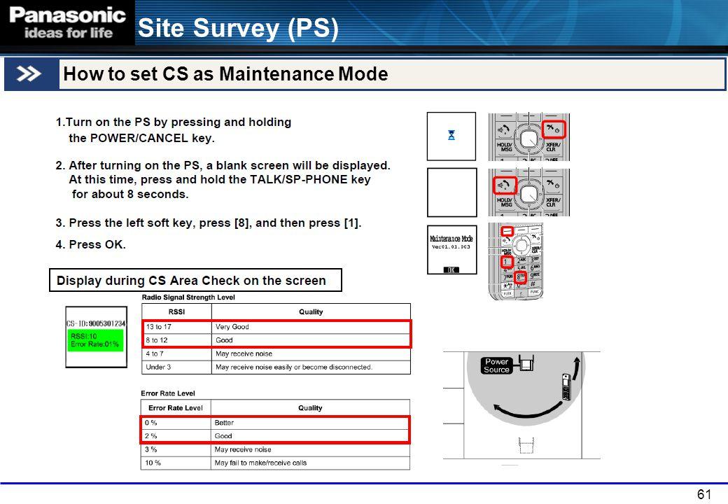 Site Survey (PS) How to set CS as Maintenance Mode