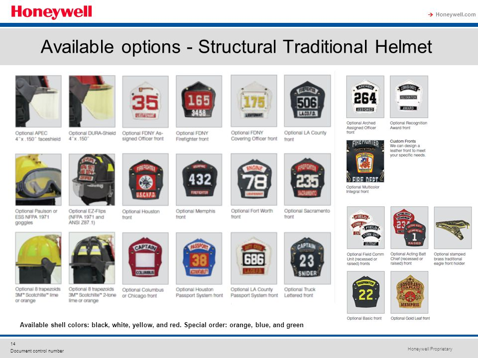Available options - Structural Traditional Helmet