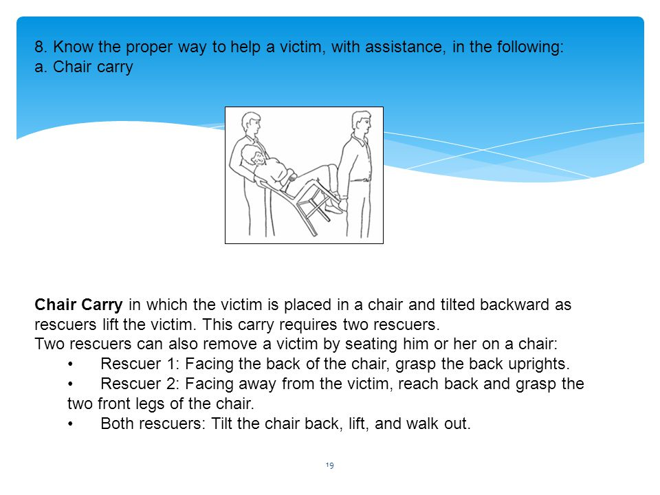 8. Know the proper way to help a victim, with assistance, in the following: