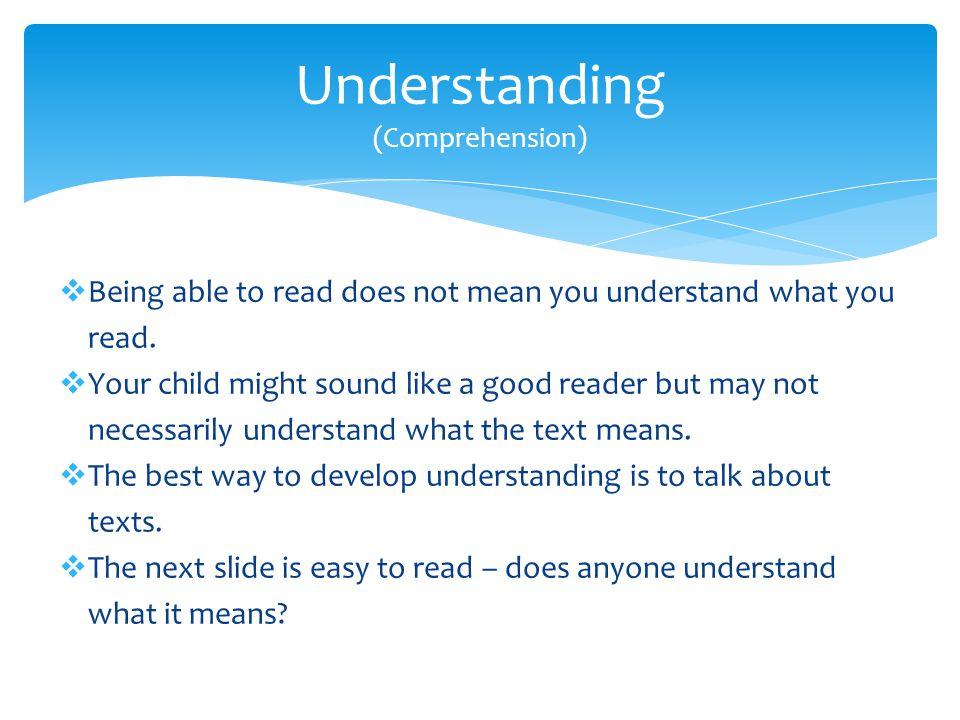 Understanding (Comprehension)