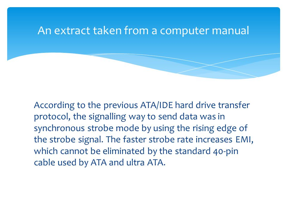 An extract taken from a computer manual