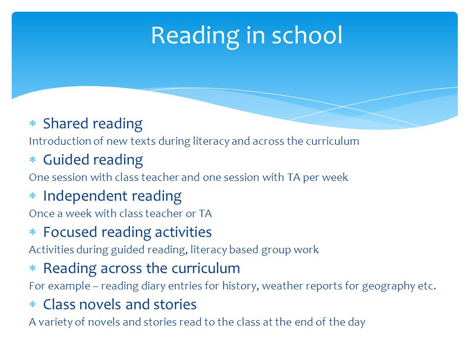 Reading in school Shared reading Guided reading Independent reading
