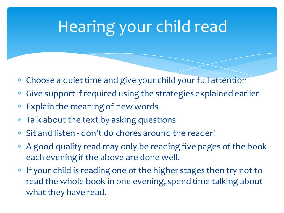 Hearing your child read