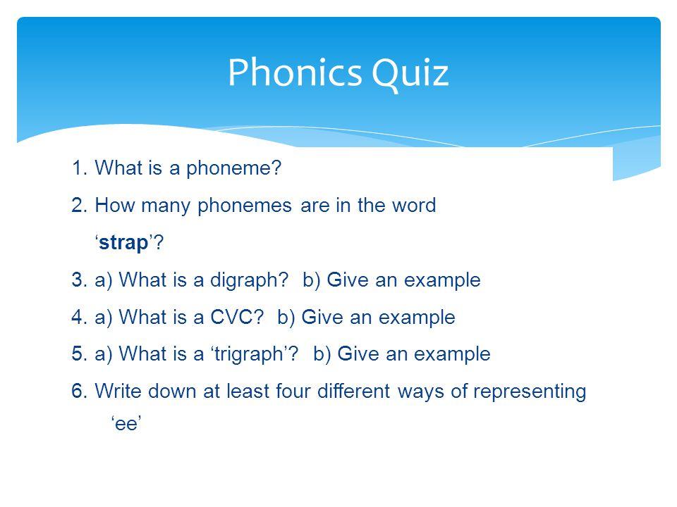 Phonics Quiz 1. What is a phoneme