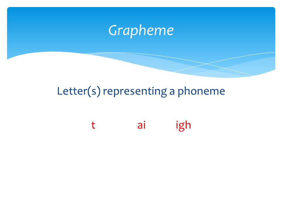 Letter(s) representing a phoneme