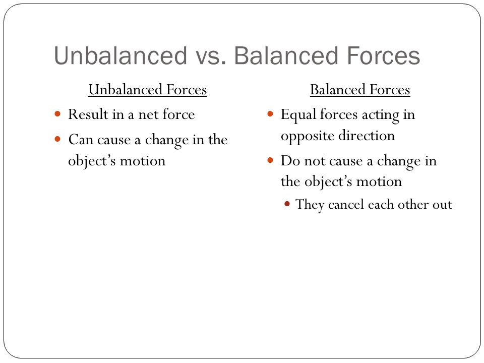 Unbalanced vs. Balanced Forces