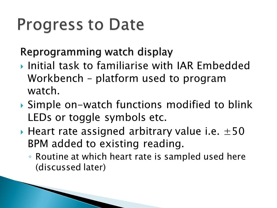 Progress to Date Reprogramming watch display