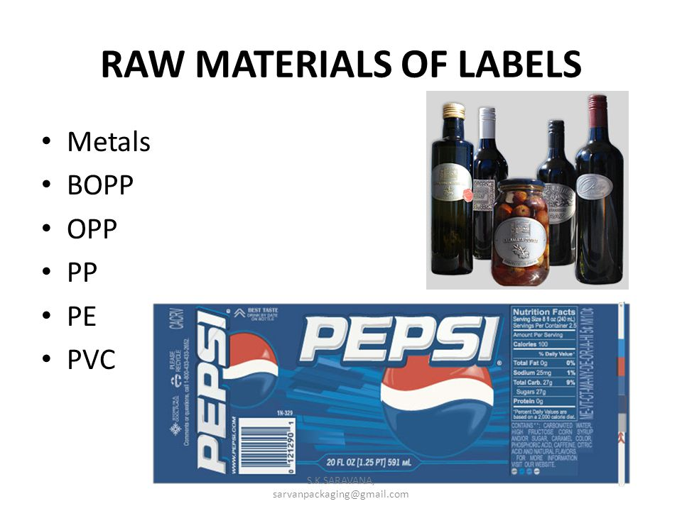 RAW MATERIALS OF LABELS