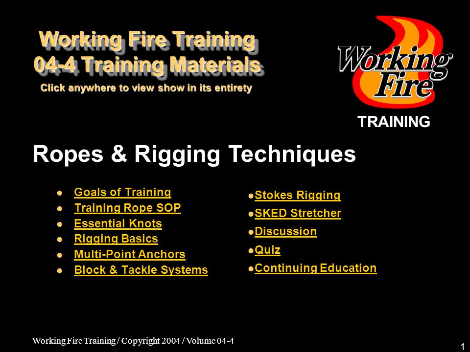 Working Fire Training 04-4 Training Materials