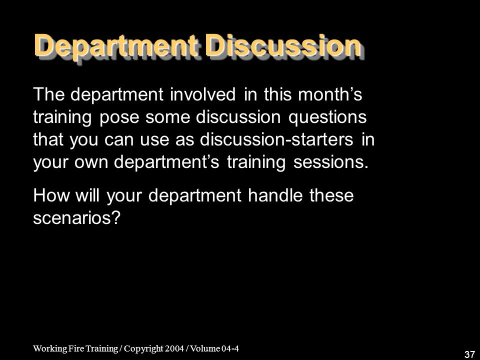 Department Discussion