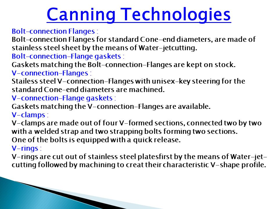 Canning Technologies Bolt-connection Flanges :