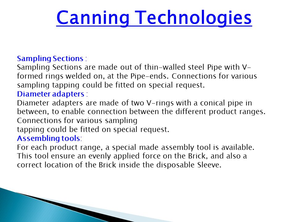 Canning Technologies Sampling Sections :