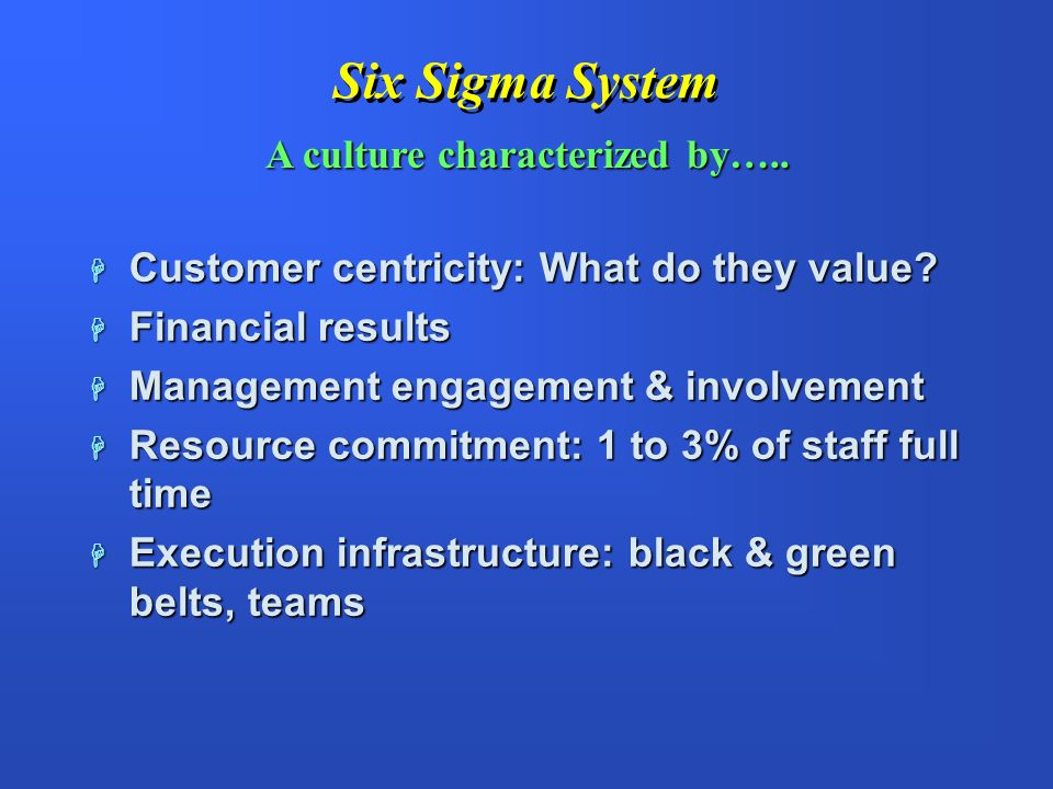 Six Sigma System A culture characterized by…..