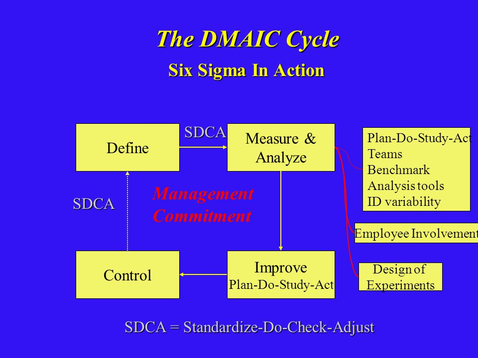 The DMAIC Cycle Six Sigma In Action Management Commitment SDCA