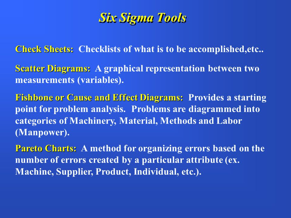 Six Sigma Tools Check Sheets: Checklists of what is to be accomplished,etc..