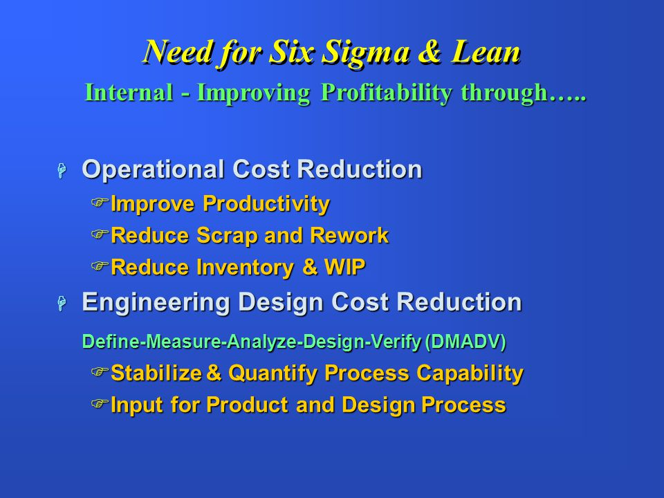 Need for Six Sigma & Lean