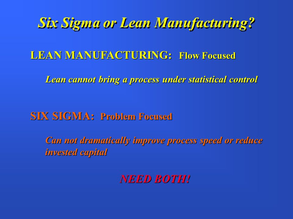 Six Sigma or Lean Manufacturing