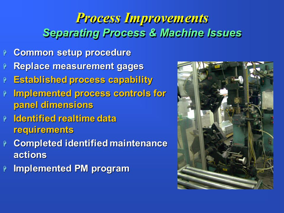 Process Improvements Separating Process & Machine Issues