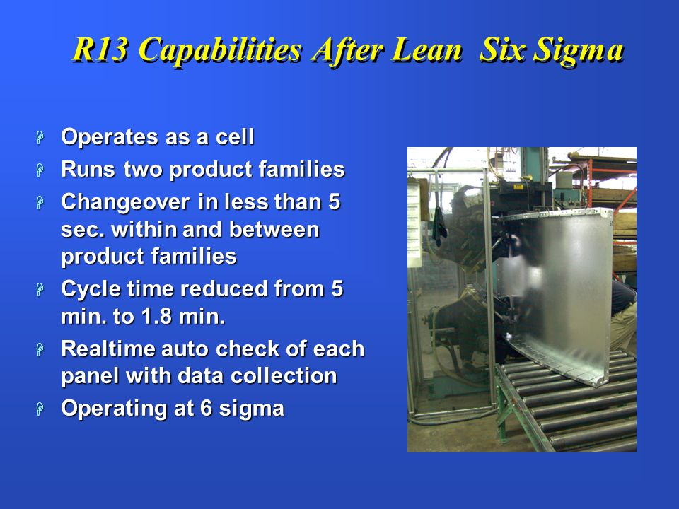 R13 Capabilities After Lean Six Sigma