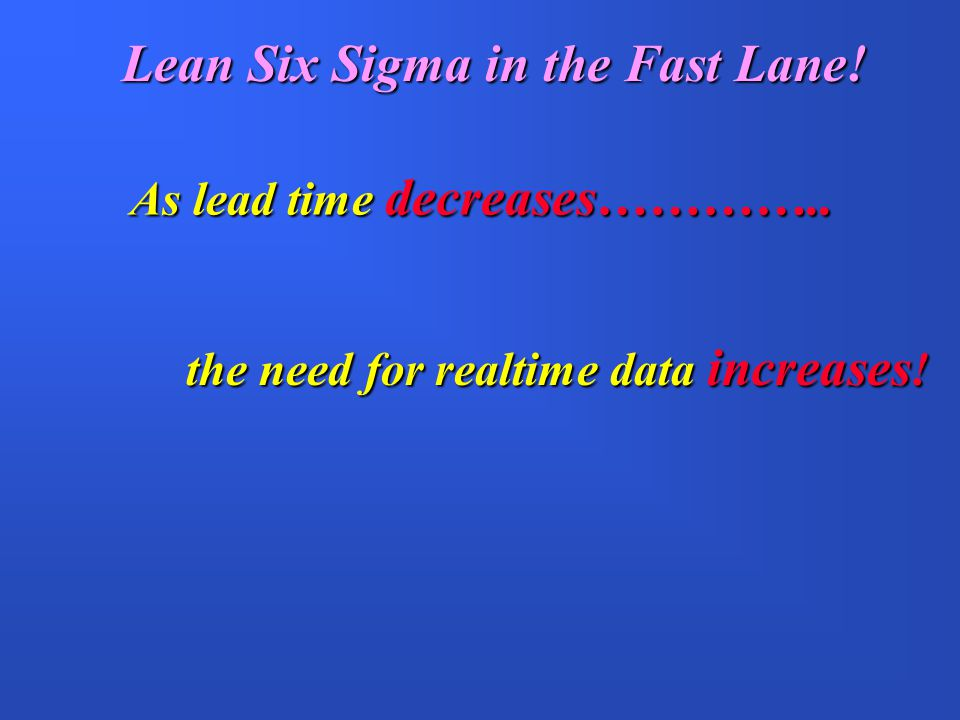 Lean Six Sigma in the Fast Lane!