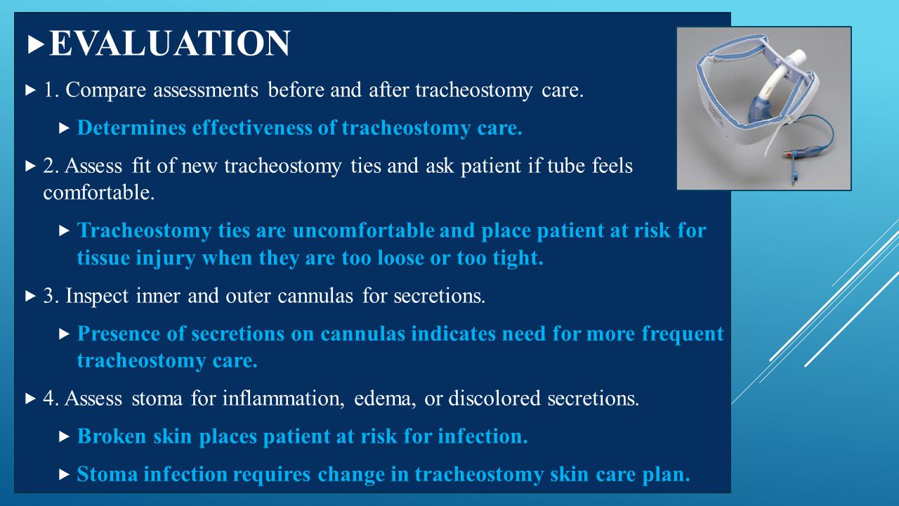 EVALUATION 1. Compare assessments before and after tracheostomy care.