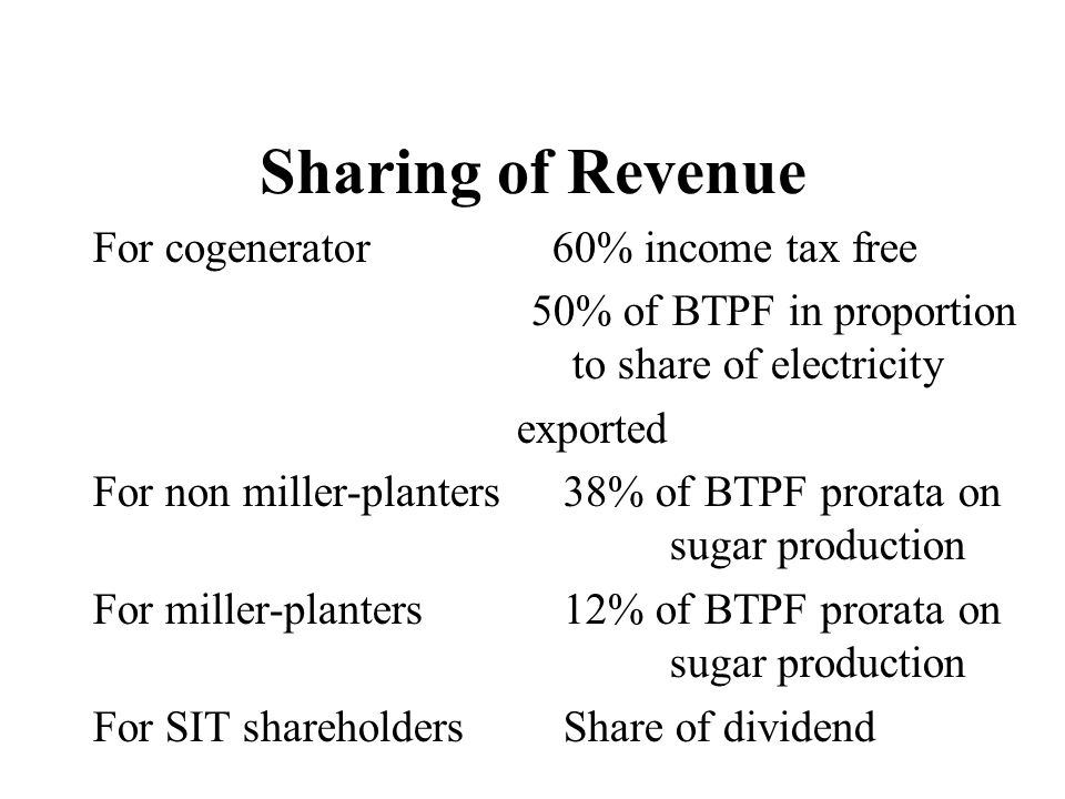 50% of BTPF in proportion to share of electricity