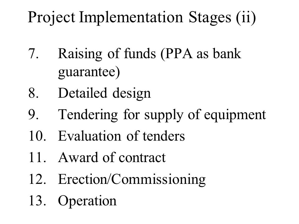 Project Implementation Stages (ii)