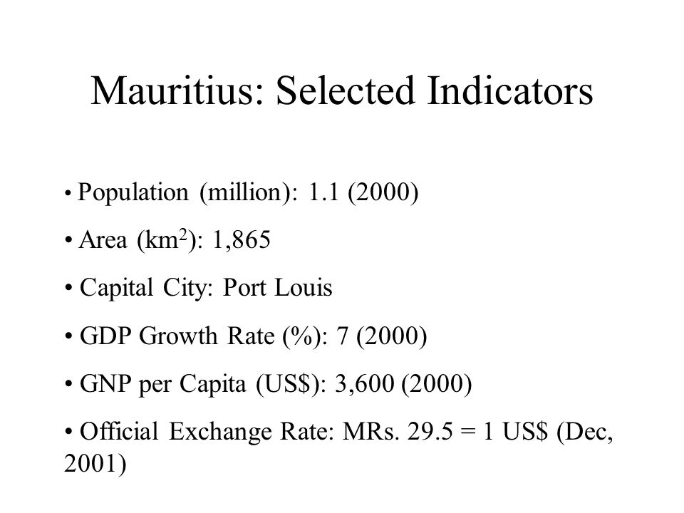 Mauritius: Selected Indicators